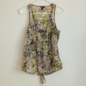 Lovely Lily White green floral sleeveless top